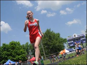 Eastwood's Hannah Sponaugle competes in the girls 1600 meter run.
