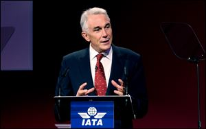 International Air Transport Association director Tony Tyler speaks during the the IATA's annual meeting held this year in Doha, Qatar.