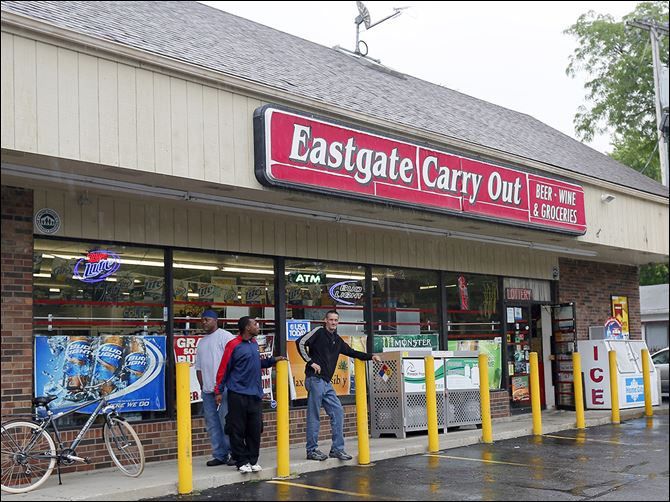 n5carryout The Eastgate Carry Out store was robbed on Tuesday, the 12th carryout burglary in Toledo since May 1. Police have not released descriptions of the suspects, nor images from surveillance video.