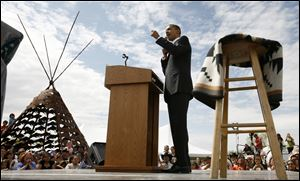 Then-Democratic presidential hopeful, Sen. Barack Obama, D-Ill., campaigning in Crow Agency, Mont., in 2008. President Obama says he'll visit a Native American reservation in North Dakota next week on his first trip to Indian Country as president.