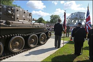 A remembrance ceremony is held at Pegasus Bridge memorial in Benouville western France, today as part of the commemoration of the 70th anniversary of the D Day.