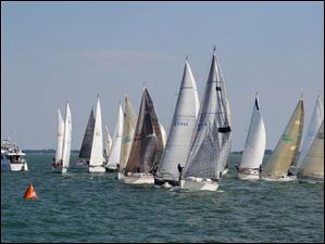 Boats head for the start of the Governor's Cup Course PHRF G & H class of the Mills Trophy Race.