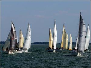 Boats line up for the start of the Governor's Cup Course PHRF G & H class of the Mills Trophy Race.