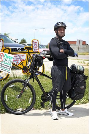 Charles Veley, 40, is to embark Wednesday on a solo bike ride to Los Angeles to promote  an end to gun violence.  Veley's son, Charles McCuin, shot and killed a man in 2012, and the decomposed body of his nephew, Christian Snow-Veley, was found in the basement of a North Toledo home last summer. Snow-Veley had been shot to death.