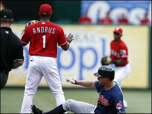 Cleveland Indians' David Murphy, right, slides ahead of the throw to Texas Rangers shortstop Elvis Andrus.