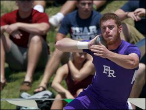 Fremont Ross' Jared Ballenger competes in the Div. 1 shot put.