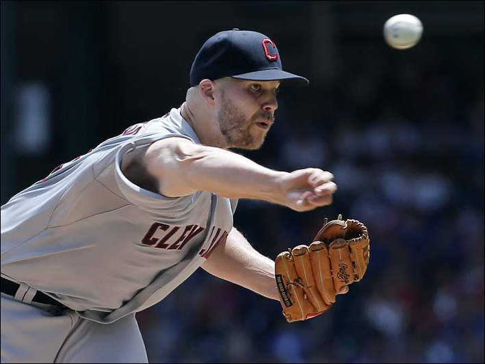 Cleveland Indians starting pitcher Justin Masterson throws against the Texas Rangers.