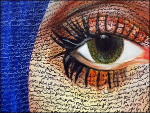 A painting by artist Reem Helal for sale.  Helal uses arabic words and phrases in the portrait.