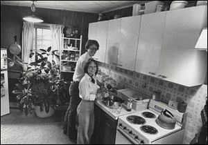 Beth and Frank Luchsinger in their first floor kitchen in the windmill house in June, 1977.