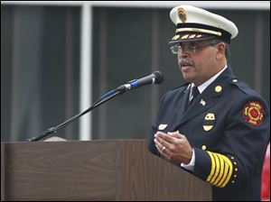 Toledo Fire and Rescue Department chief Luis Santiago speaks during the Toledo Fire Department's annual memorial service.