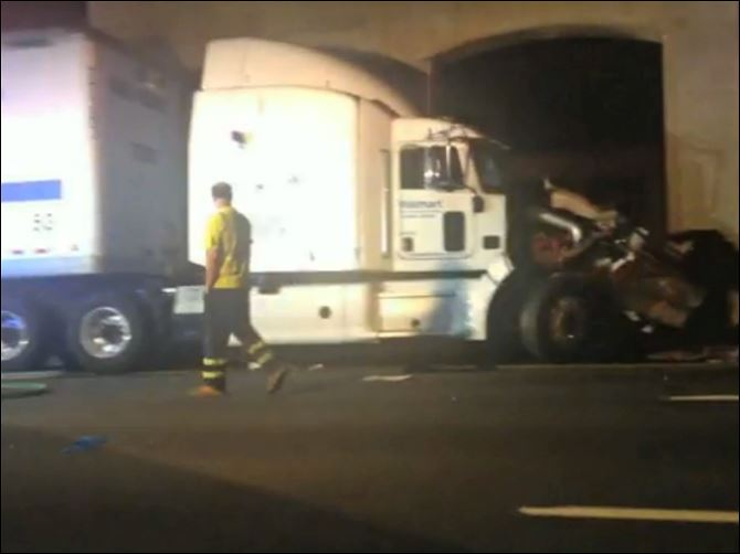 Tracy Morgan Accident In this image from video the Wal-Mart truck involved in the crash of the limousine bus carrying Tracy Morgan and six other people is seen early Saturday morning on the New Jersey Turnpike at the accident scene.