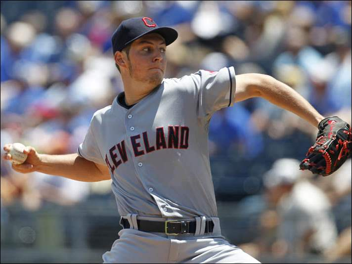 Cleveland Indians pitcher Trevor Bauer throws against the Kansas City Royals.