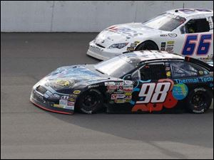 Driver Mason Mitchell led Austin Theriault most of the race, until the end.