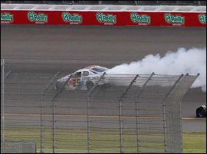 Justin Boston's car has troubles during the race..