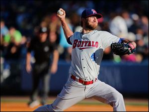 Buffalo Bisons pitcher Kyle Drabek throws against the Toledo Mud Hens.