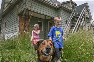 Neighbors Amelia Wetzel, 8, and Nick Wood, 7, take Nick's 13-year-old mix Gotti for a walk through the weeds at an abandoned house in the 300 block of East Broadway Street in East Toledo.