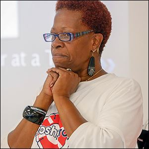 Wanda Butts, who  founded the Josh Project af­ter her son Josh, 16, drowned eight years ago, speaks to the class.