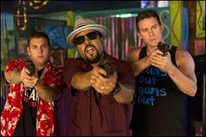 "Jonah Hill, Ice Cube, and Channing Tatum in Columbia Pictures' ""22 Jump Street."""
