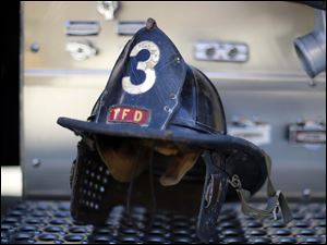 The 1950's helmet of William Kertesz, who was a Toledo Fire Fighter in Station 3, was brought by his daughter Yvonne Kertesz.
