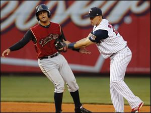 Toledo Mud Hens SS Hernan Perez tags out  Scranton/Wilkes-Barre's Francisco Arcia at second base.