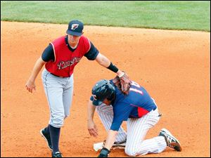 Mud Hens Wade Gaynor is safe at second despite the tag of Scranton/Wilkes-Barre's Carmen Angelini.