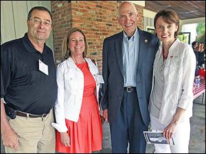 From left: Dr. Gary Corrigan, Cindy Tuttle, Jay Mirrow and Partners in Education executive director Jen Kephart attend the Beethoven & Bar-B-Que event at the Anderson's Activity Building in Maumee.