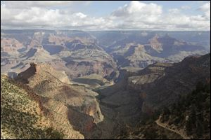 The view from the South Rim of the Grand Canyon National Park in Arizona.