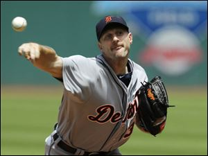 Detroit Tigers starting pitcher Max Scherzer delivers against the Cleveland Indians.