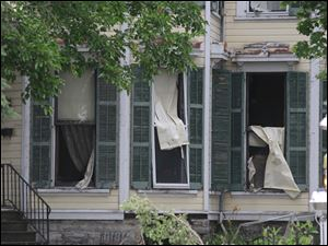 Windows are blown out after the explosion.