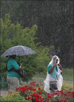 Toledo Zoo employees Kiera Williams, left, and Samiyia Pittmon shield themselves from the rain during a thunderstorm as they wait at the bus stop.