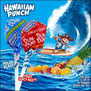 A recent ad displays the two new limited edition flavors of Dum Dums Hawaiian Punch lollipops. The Hawaiian Punch flavors are Fruit Juicy Red and Polar Blast.