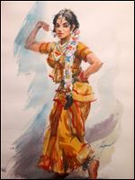 '‍Indian Dancer,' watercolor by Walter Chapman, is one of the pieces in a show of his work opening Tuesday at the Perrysburg Municipal Building.