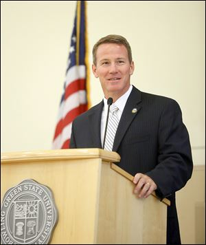 Ohio Secretary of State Jon Husted speaks Thursday to elections officials from the area as part of the 2014 Ohio Elections Officials Summer Regional Meetings at the Bowen-Thompson Student Union at Bowling Green State University.