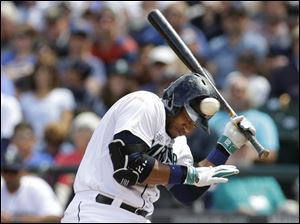 Seattle Mariners' Robinson Cano ducks a pitch that was high and inside during an at-bat.