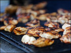 Chicken is grilled.