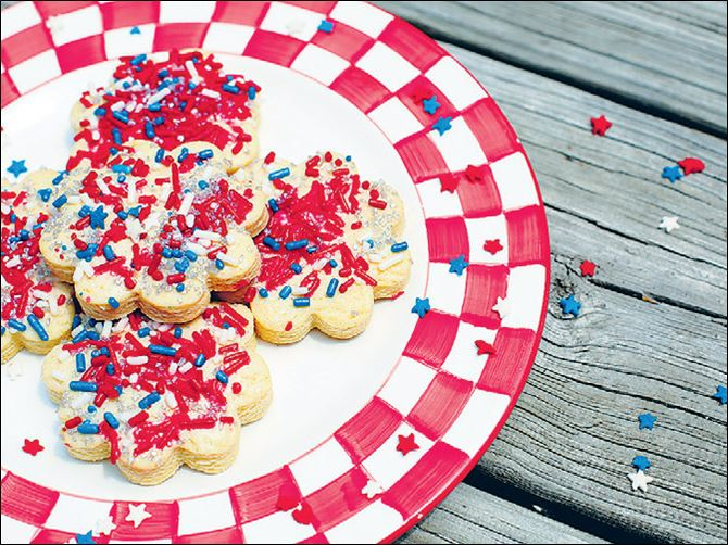 Cookies with star sprinkles for the 4th of July. Cookies with star sprinkles for the 4th of July.