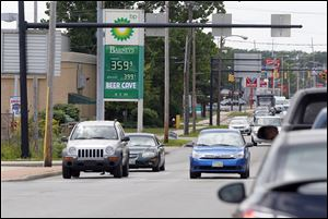 BP on Monroe Street in Sylvania charges $3.59 for a regular gallon of unleaded gas Wednesday. Local gas prices were down more than an average of 30 cents from a month ago, but were rapidly rising.