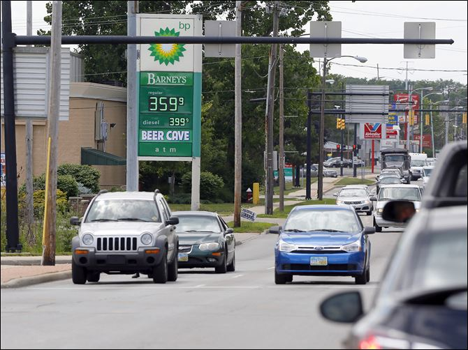 n5fuel BP on Monroe Street in Sylvania charges $3.59 for a regular gallon of unleaded gas Wednesday. Local gas prices were down more than an average of 30 cents from a month ago, but were rapidly rising.