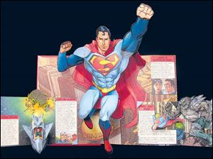 The Superman page from 'DC Super Heroes: The Ultimate Pop-Up Book,' by author and illustrator Matthew Reinhart, who will give a free talk at 1:30 p.m. Tuesday at the Main Library.