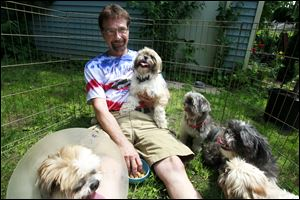 George Francel sits with all five Shih Tzus that were returned to him.