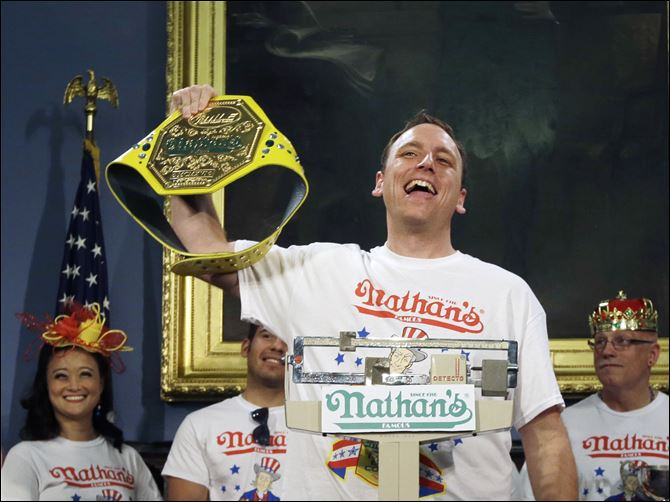 Hot Dog Eating Contest Seven-time hot dog eating champion, Joey Chestnut, weighs in Thursday. He won today's July 4 competition.