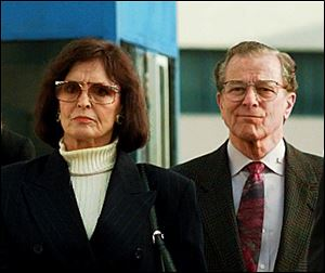 Juditha and Louis H. Brown Jr., parents of Nicole Brown Simpson, arrive for the start of closing arguments in the O. J. Simpson wrongful death civil suit in this file photo at Los Angeles County Superior Court in Santa Monica, Calif.