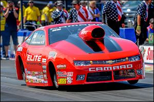 Erica Enders-Stevens defeated Dave Connolly in the Pro Stock division at the NHRA Nationals in Norwalk, Ohio, on Sunday.