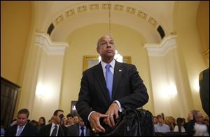 Homeland Security Secretary Jeh Johnson arriving to testify before the House Committee on Homeland Security on Capitol Hill in Washington about the growing problem of unaccompanied children crossing the border into the United States.