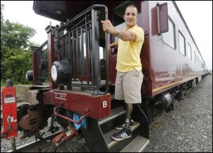 Matt Kalina, Jr., of Broadview Heights, Ohio, lost parts of both of his legs in a train accident in 2012.
