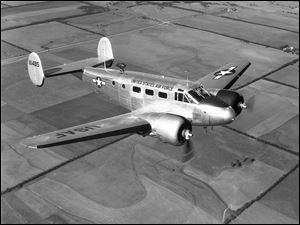A U.S. Air Force C-45 aircraft, like the one shown here, was abandoned during flight by its crew in 1952 and has been located in deep water off Oswego, N.Y.