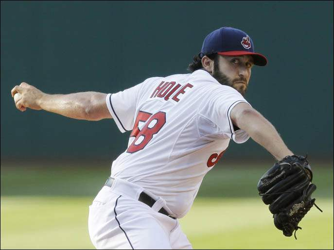 Cleveland Indians pitcher T.J. House delivers against the New York Yankees.