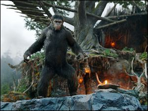Andy Serkis as Caesar in a scene from the film, 'Dawn of the Planet of the Apes.'