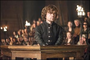 "Peter Dinklage in a scene from ""Game of Thrones.""  The series garnered 19 Emmy Award nominations, including one for best drama series."