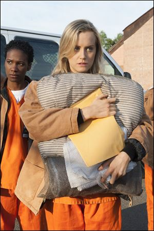 "Taylor Schilling in a scene from ""Netflix's 'Orange is the New Black.' "" Schilling was nominated for an Emmy Award for best actress in a comedy series."
